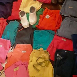28 pc Scrubs & Sets 3 pairs of Shoes Sz 6.5 & 7